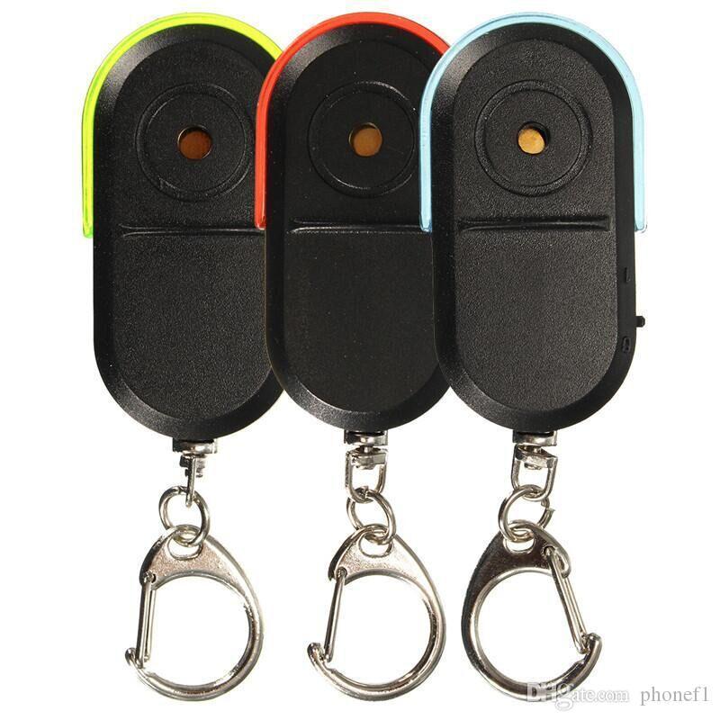 Perdió la alarma anti-GPS inalámbrico Key Finder Localizador llavero silbato sonido de la luz LED