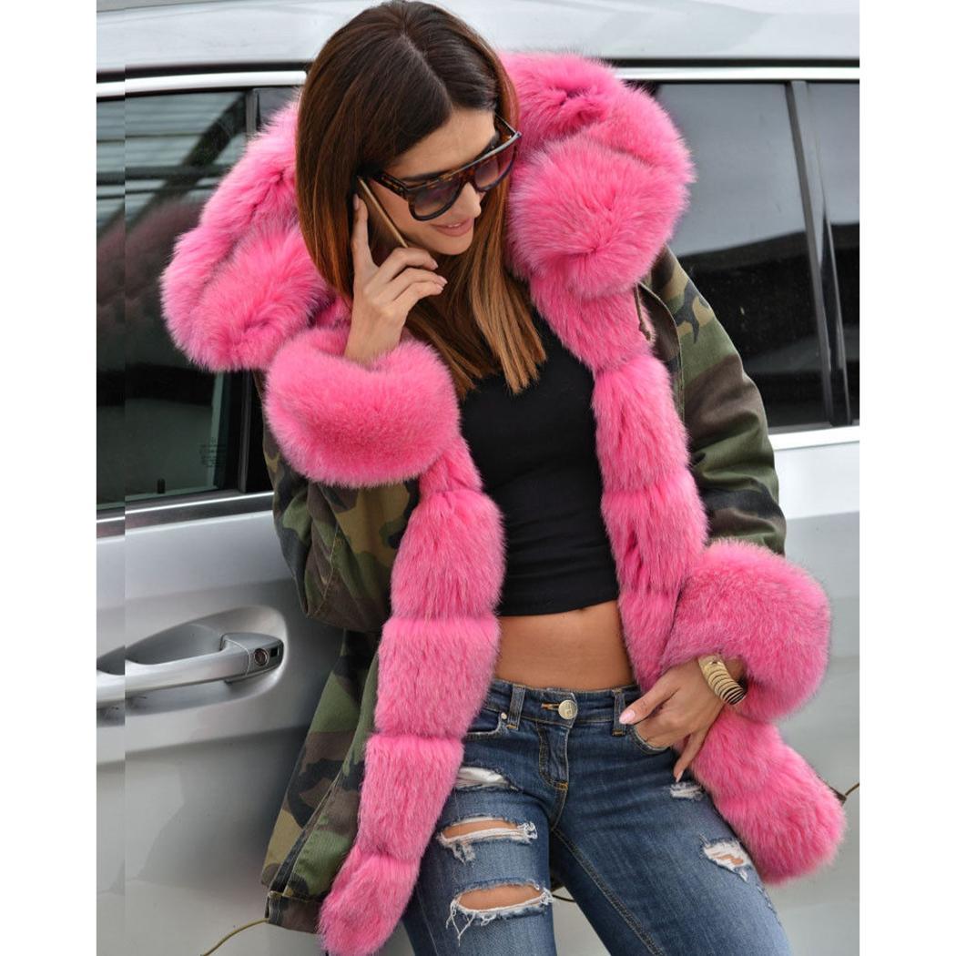 Женщины Камуфляж Длинные пальто розовый искусственного меха воротник Parka Camo Шинель зимы Толстые Теплый Волосатые Мех с капюшоном куртки и пиджаки 5XL
