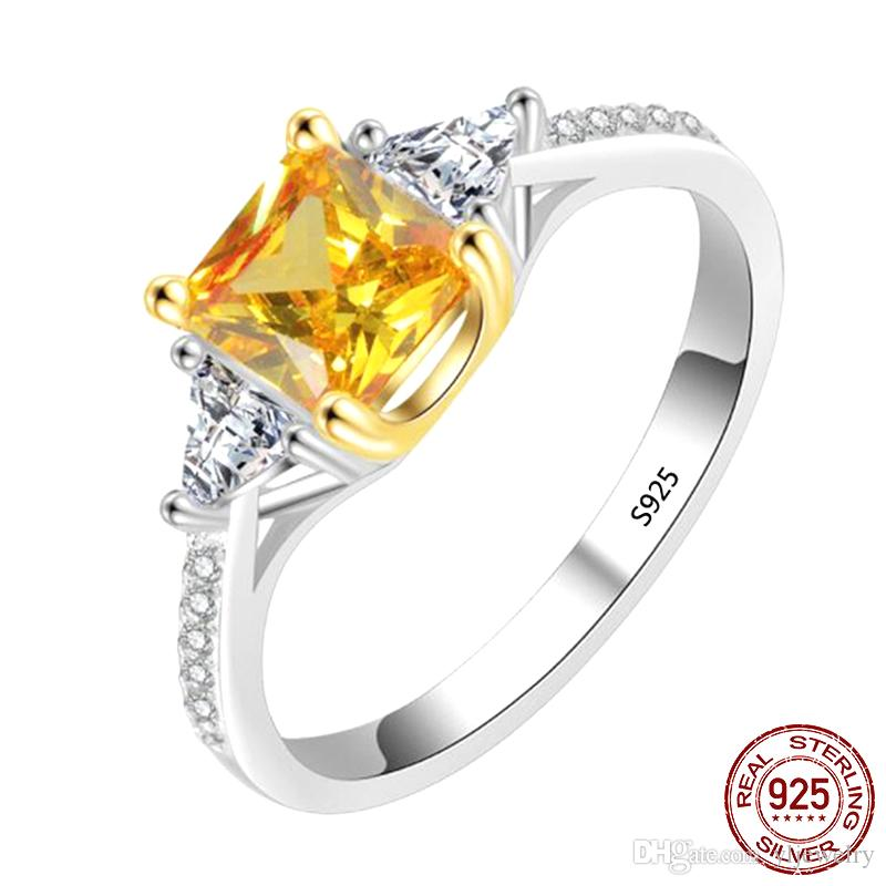 Solid 925 Sterling Silver Ring Square 6mm Yellow CZ Crystal Gemstone Wedding Engagement Ring Jewelry Gift Wholesale XR300