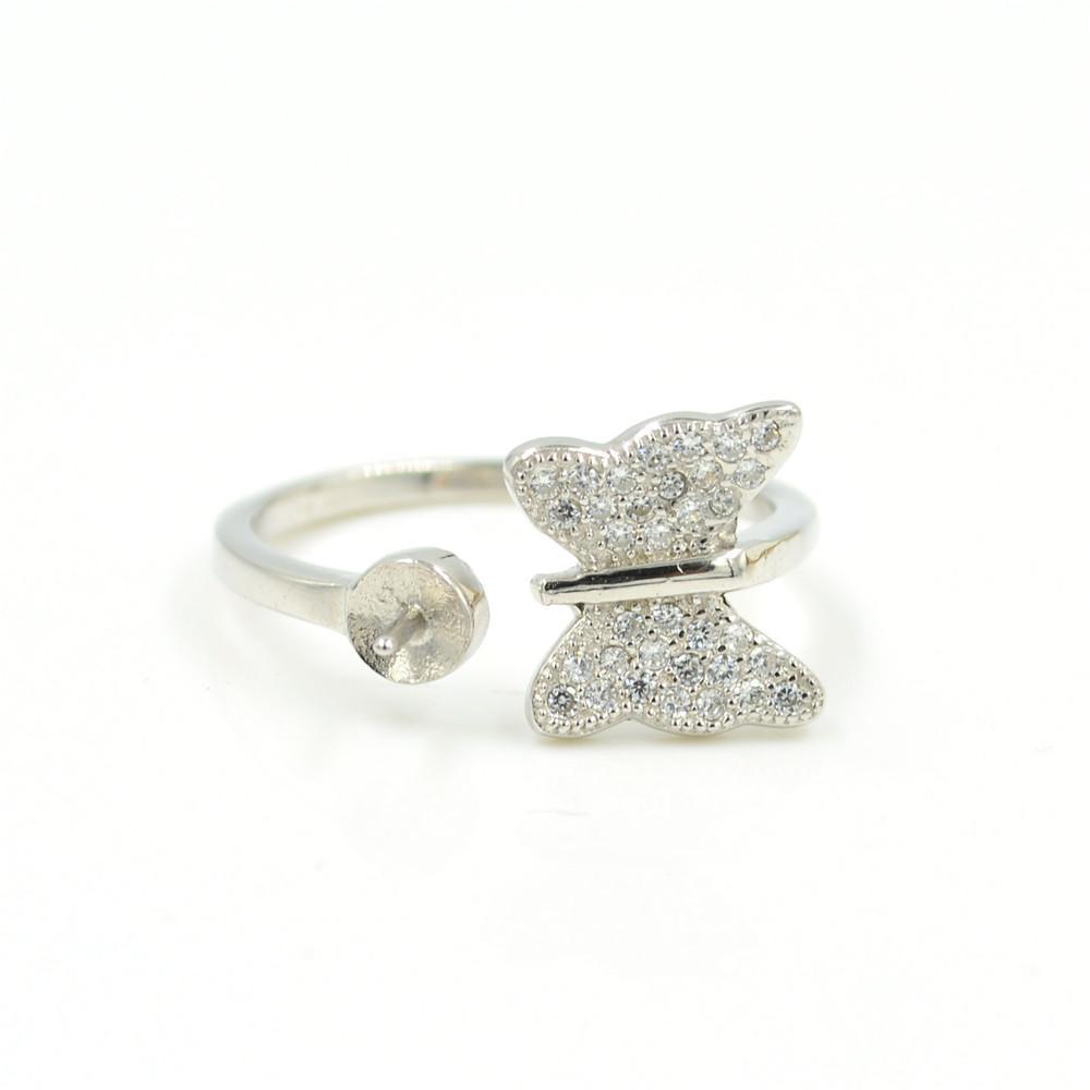 Whoesale S925 стерлингового серебра кольцо крепления бабочка zirc кольцо крепления для женщин жемчужные украшения diy бесплатная доставка регулируемый открытие кольцо
