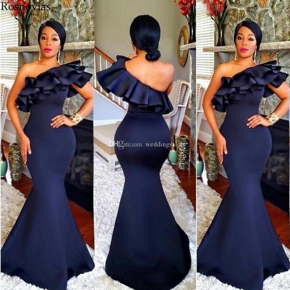 Dark Navy Mermaid Ruffled Bridesmaid Dresses One Shoulder Country Maid Of Honor Gowns Floor Length Satin Wedding Guest Dress
