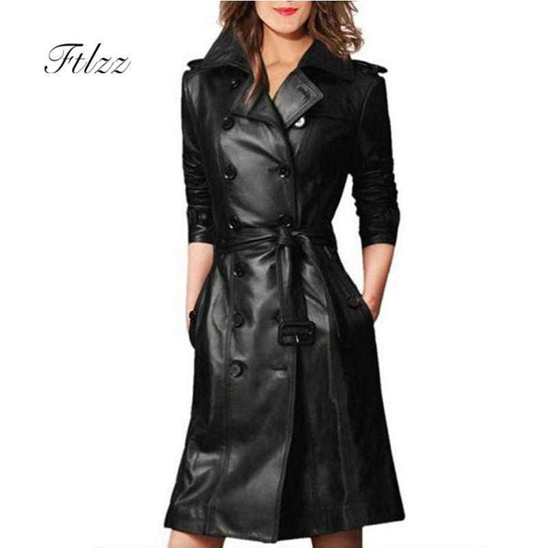 Women Pu Leather Trench Coat Female Overcoat Spring Autumn Long Sleeve Double-breasted Long Coat Ladies Plus Size Windbreaker Y190826