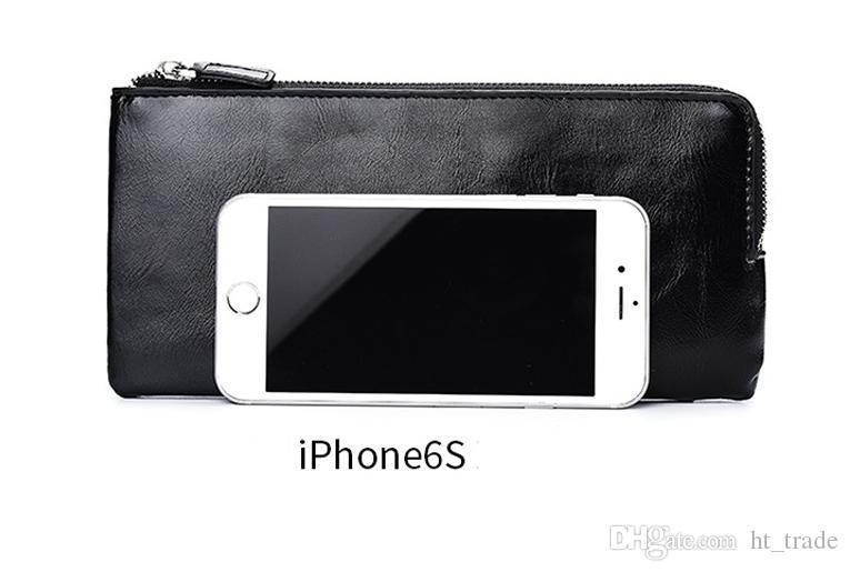 Erkek uzun cüzdan gençlik fermuar erkek cep telefonu çantası ultra-ince yumuşak deri cüzdan askısı, 3 renkler