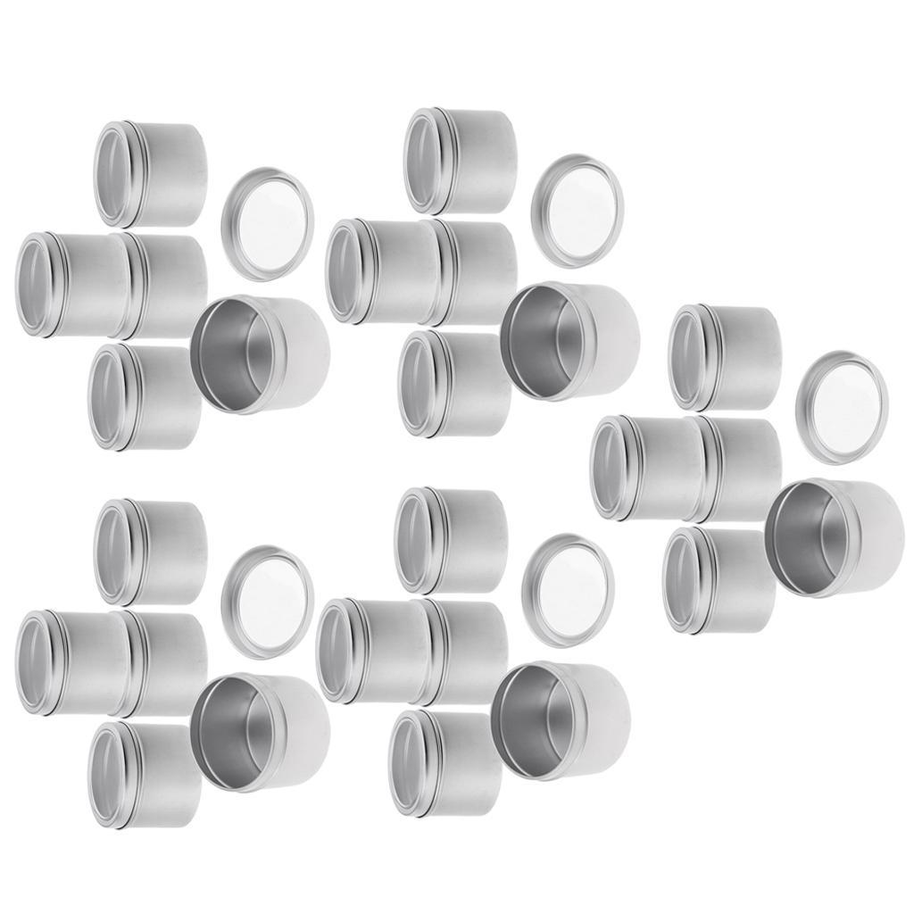 25 piezas de aluminio de la lata tarros (100 ml) Latas envases cosméticos Ronda de estaño con tapón de rosca de la tapa para el bricolaje Crafts, Cosmética, Salve, Vela, almacenaje del recorrido