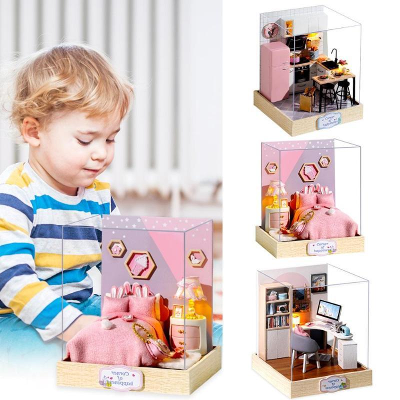 DIY Doll House Wooden Doll Houses Miniature Dollhouse Furniture Kit with LED Toys for children Christmas Gift Educational Toys