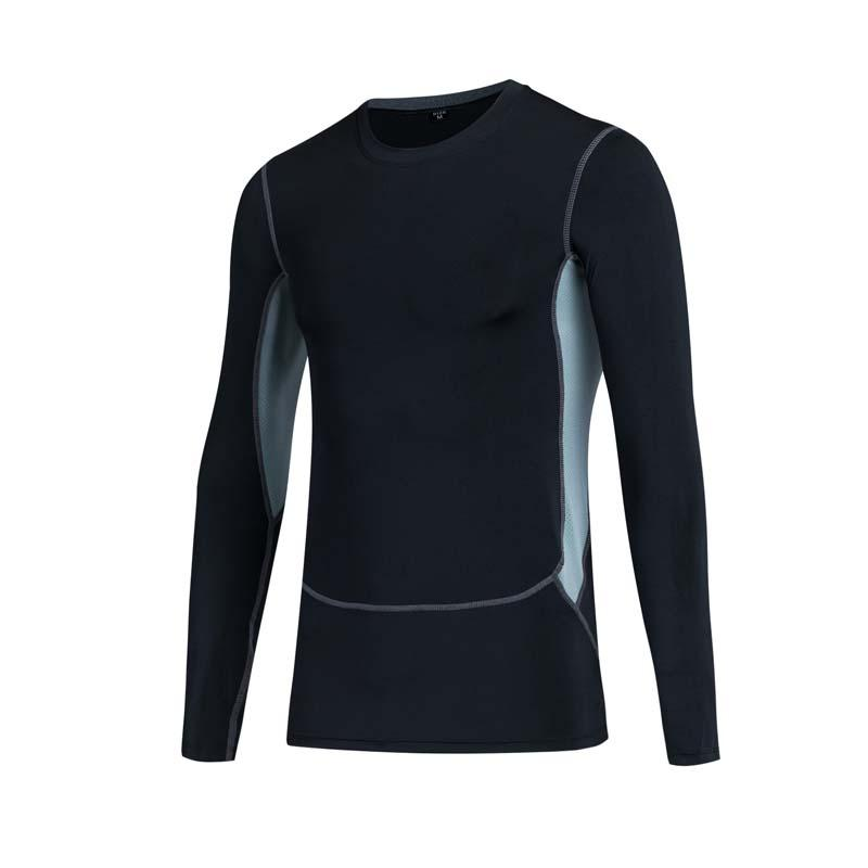 New Sports Fitness Men Running Jogging Elastic Quick-drying Long Sleeve T-Shirt Men Pro Tight Training Shirt Tops Tees
