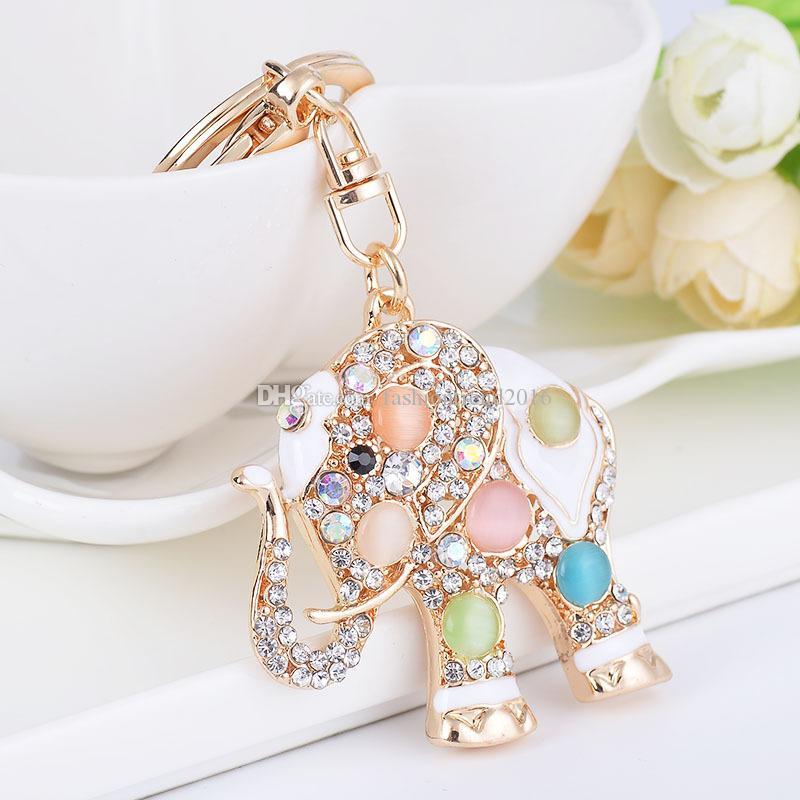 Métal éléphant mignon Keychain bling strass cristal Porte-Monnaie Porte Charms pendentif sac à main pour femmes Gilrs Party de Noël Cadeaux