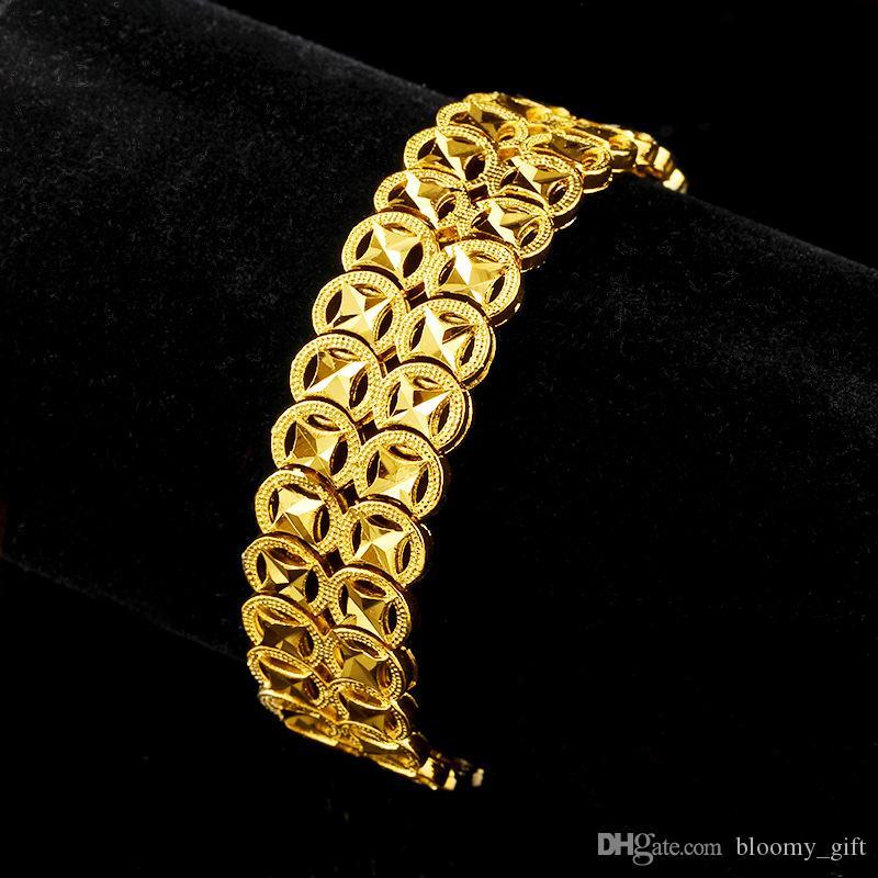 Mens delle donne Bracciale oro giallo 18k riempito solido classico modo del collegamento Chain 8 pollici di lunghezza
