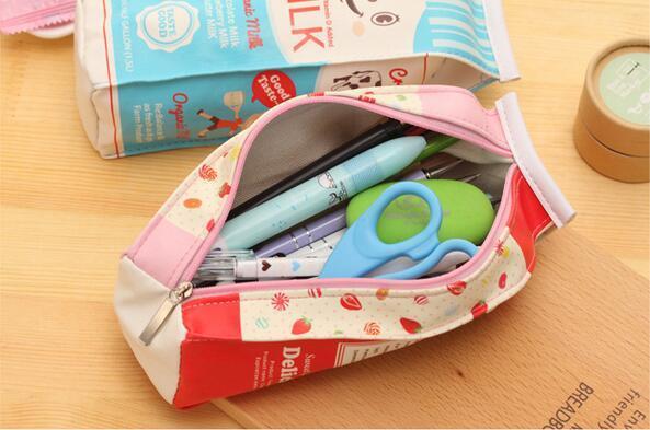 Eco-Friendly Pencil Cases & Bags Korean Style PU Milk By Cute Mini Bag Pencil Waterproof Handmade Canvas Pencil Bag Stationery Bags