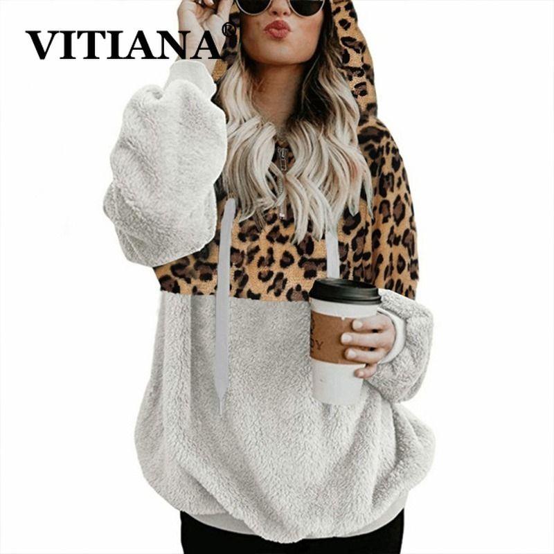 VITIANA Teddy Pullover Sweatshirt Frauen Herbst 2019 Female Langarm-Fleece Leopard Sortieren Warm beiläufige mit Kapuze Femme Winter-Tuch T200402
