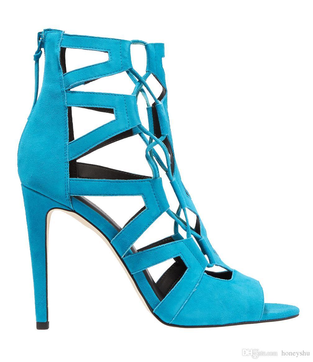 Kolnoo Yeni Varış Bayanlar Yüksek Topuk Sandalet X-askıları Süet Peep-toe Konfor Ayakkabı Yaz Dailywear Yürüyüşü Moda Sandalet Ayakkabı XN011