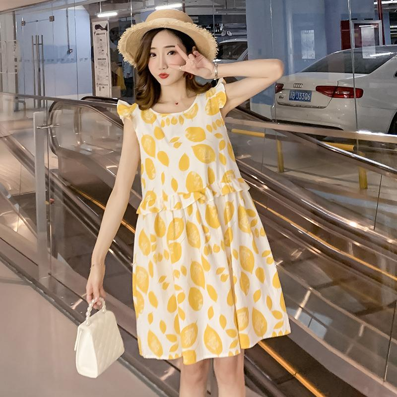 Pregnant Women Summer New Fashion Cotton And Linen Leaves Printed Sleeveless Dress Petal Sleeve Maternity Empire Ruffles Dress