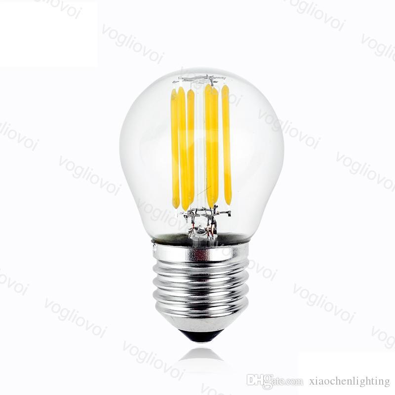 Lâmpadas LED G45 Não Dimmable AC95-265V Filament Candle Light 2W 4W 6W E14 E27 Cool White para Crystal Chandeliers Luzes de mesa de penhor de pingente DHL