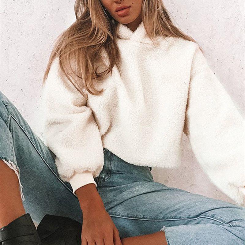 2018 donne di autunno con cappuccio casuale lana d'agnello manica lunga con cappuccio Pullover Felpe con cappuccio femmina Jumper Felpe