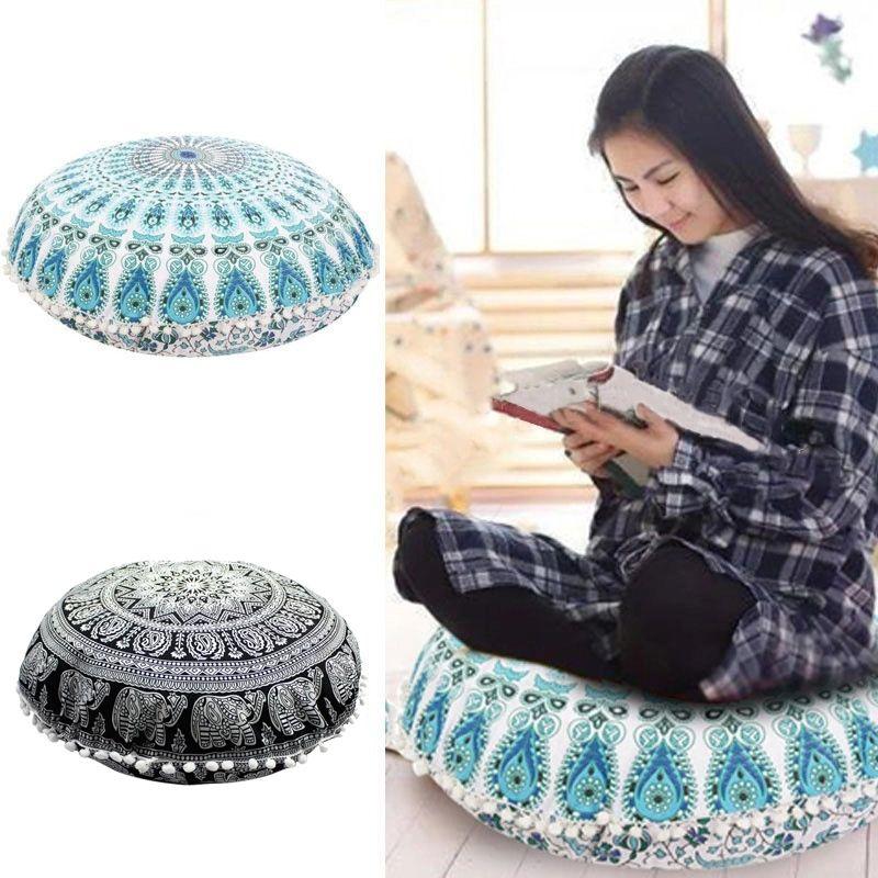 Мандала круглый подушка чехол Индийский богемное пола подушку чехлы диван бросить подушку цветок Мандала домашний декор подушку 37 конструкции YFA269