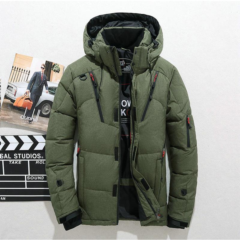 Toptan-Yeni Yüksek Kalite Kış Sıcak Kalınlaşmak Fermuar Coats Erkekler Kapşonlu Parkas Casual Erkek İnce Fermuar Palto Ceket Çoklu Cepler