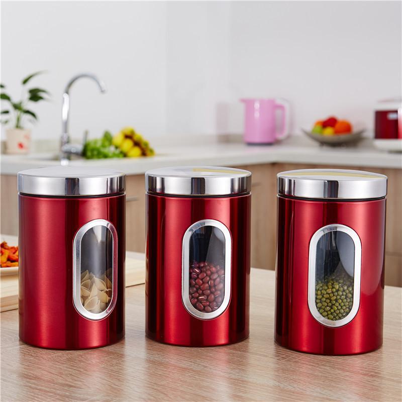손 선물 Glss 컨테이너 크리 에이 티브 스테인레스 스틸 저장 탱크 주방 밀폐 용기 빨간색 사탕 상자