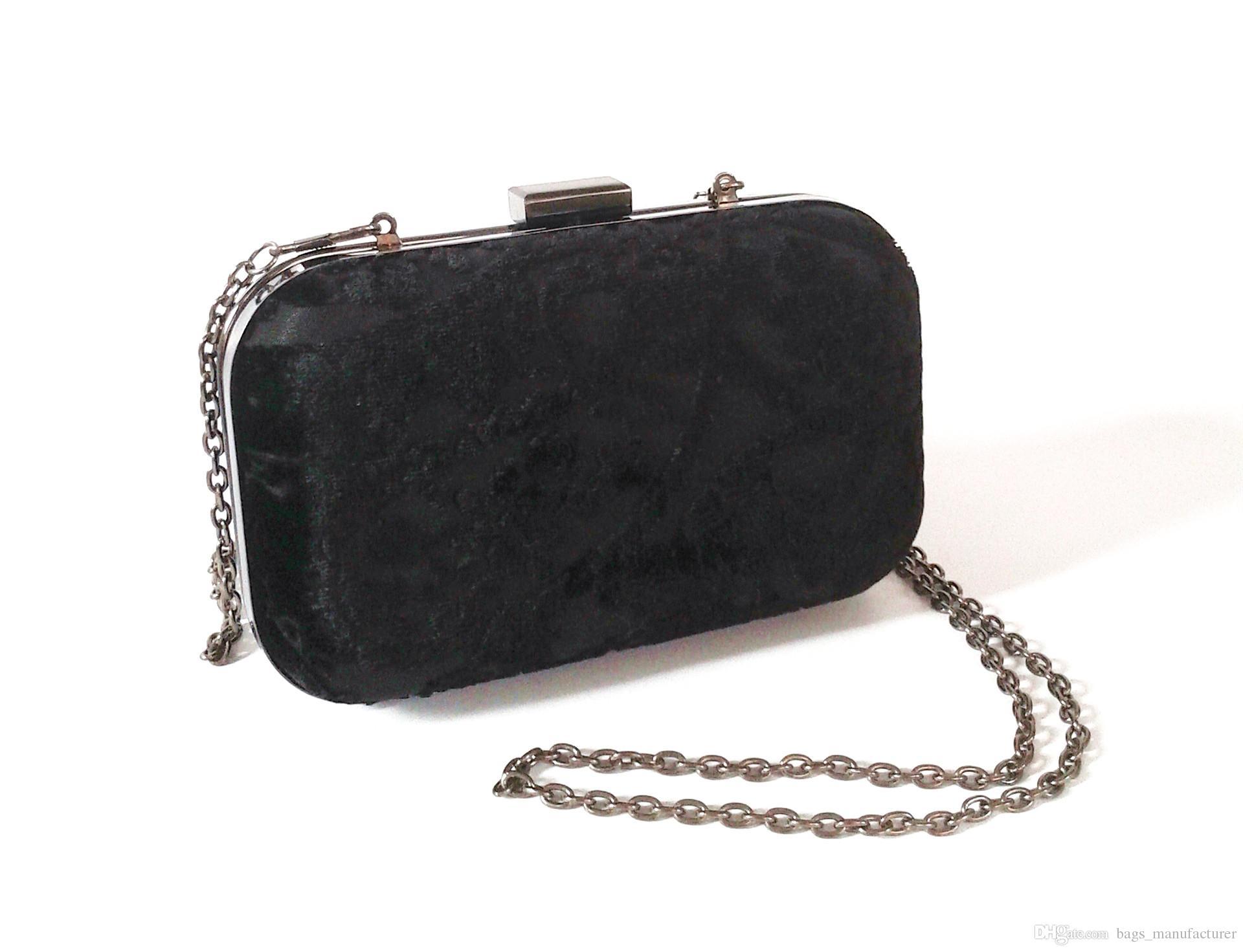 BLACK VELVET Clutch Bag NEW Formal Evening Handbag with Chain Strap