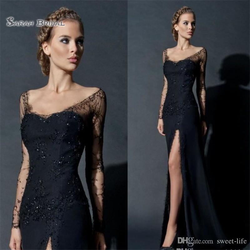 Black High Split Sheath Evening Dresses Long Sleeves Lace Sequines Evening Gowns Celebrity Party Prom Dress