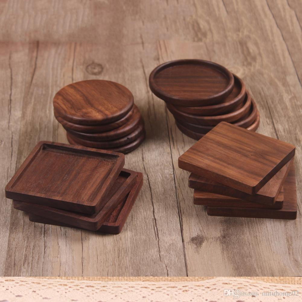 Beech Black Walnut Wood Coaster Retro Insulation Cup Mat Household Square Round Coaster Coffee Tea Cup Pads