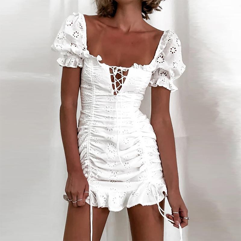 Iclosam Donne con coulisse Pieghettato Bianco Bianco Bianco Bianco Slim Dress Sexy Scava fuori Bandaggio manica corta Bodycon Vestiti vacanze