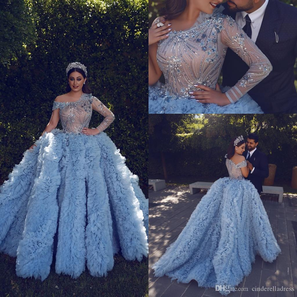 Said Mhamad Cascading Ruffles Skirts Formal Evening Dresses 2020 One SHoulder Ball Gown Tiered Skirts Prom Gowns Arabic Pageant Dress