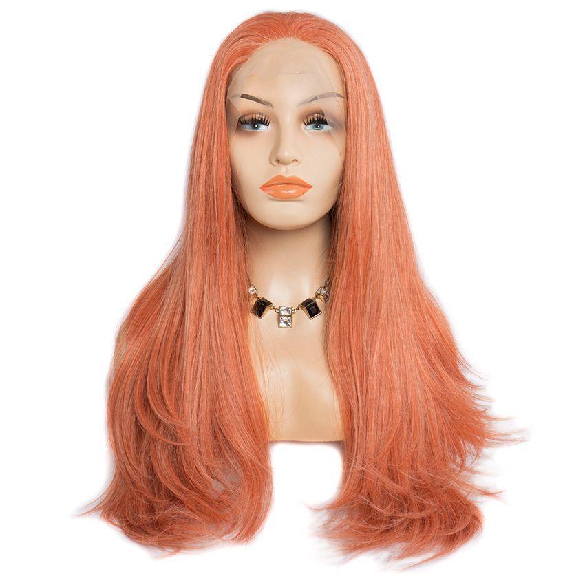 Spectacle moderne de cheveux abordable avant de lacet perruques à vendre Ginger / Orange couleur synthétique perruques de lacet de cheveux pour les femmes noires Coiffure droite naturelle