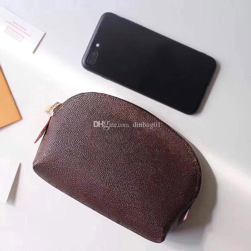 핑크 스기노 메이크업 가방 정품 가죽 2020 새로운 화장품 가방 클러치 지갑 여행 가방 디자이너 핸드백 인쇄 상자 일련 번호