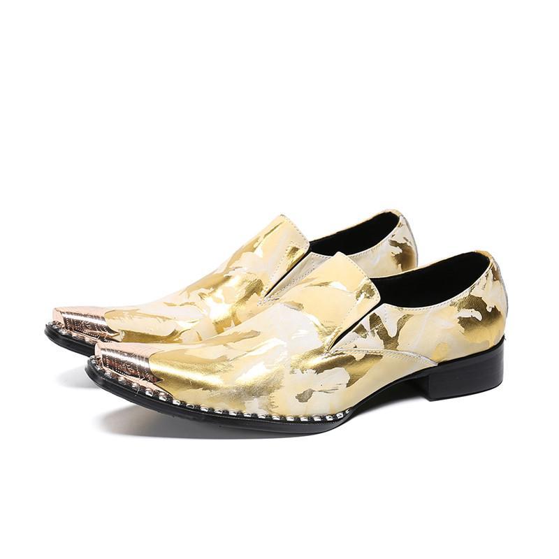 Золото Корова кожа Мужская площади Oxfords Металл Toe красный Свадебная обувь мужская мода Лоскутная Rhinestone Граничит Sole Бизнес обувь