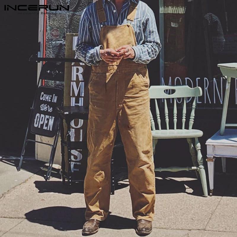 Hommes Jumpsuit Mode Pantalons droits Solide Couleur Romper 2019 Casual Baggy Streetwear hommes Suspenders Salopette S-5XL INCERUN