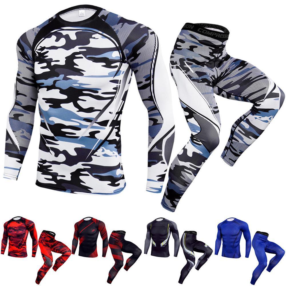 Para hombre de la aptitud del ejercicio Ropa de Hombre Dos Piezas Yoga traje seco rápida Shirts + pantalones de estiramiento hombre de la moda delgadas Deportes chándales tamaño S-3XL