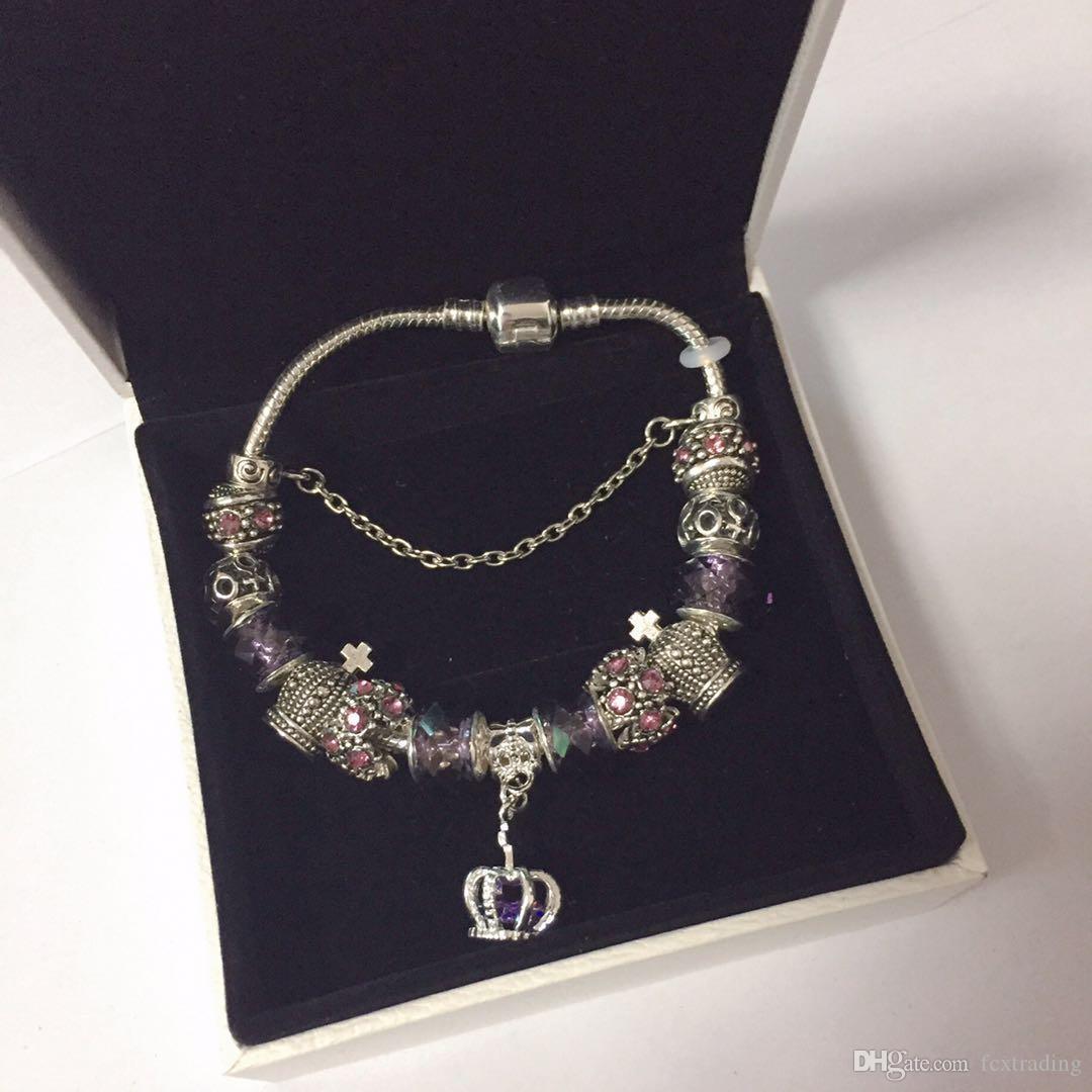kutu ile 18 19 20 21cm Charm Bileklik 925 Gümüş kaplama Bilezikler Royal Crown Aksesuarları Mor Kristal Boncuk Diy Düğün Takı