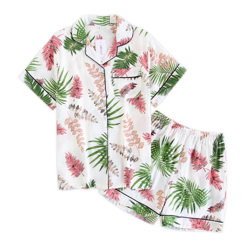 Japon basit kısa pijama kadınların% 100 pamuk kısa kollu bayan pijama takımı şort Sevimli karikatür pijamalar kadın homewear