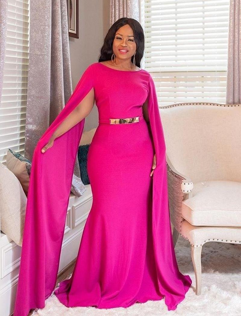 Fuchsia Memraid formelle Robes de soirée Robes de bal des femmes africaines avec Caftan Simple longue Dinner Party Dress Robes