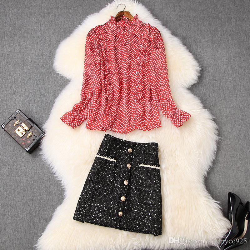 2020 весна лето красный с длинным рукавом Экипаж шеи Polka Dot печати Блуза + Контрастные Кнопки Мини Короткая юбка из двух частей 2 шт Набор LJ28T10607