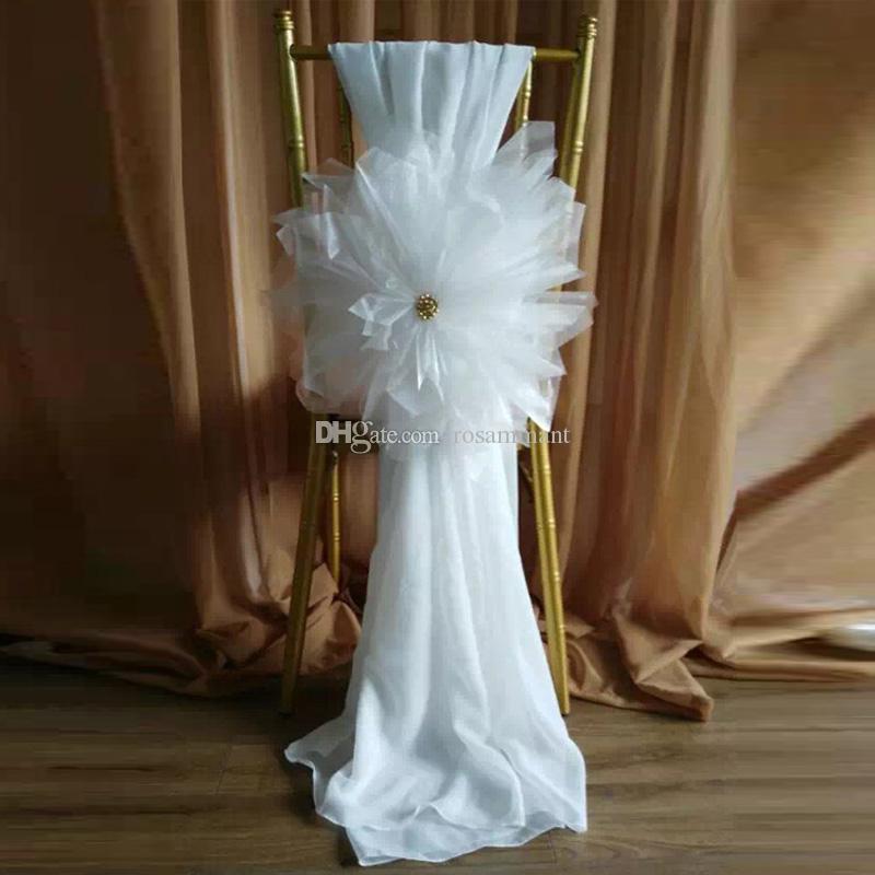 Perline di cristallo Fiori fatti a mano romantici Copertura per sedia a fascia in tulle Accessori da sposa Coperture per sedia in tulle all'ingrosso