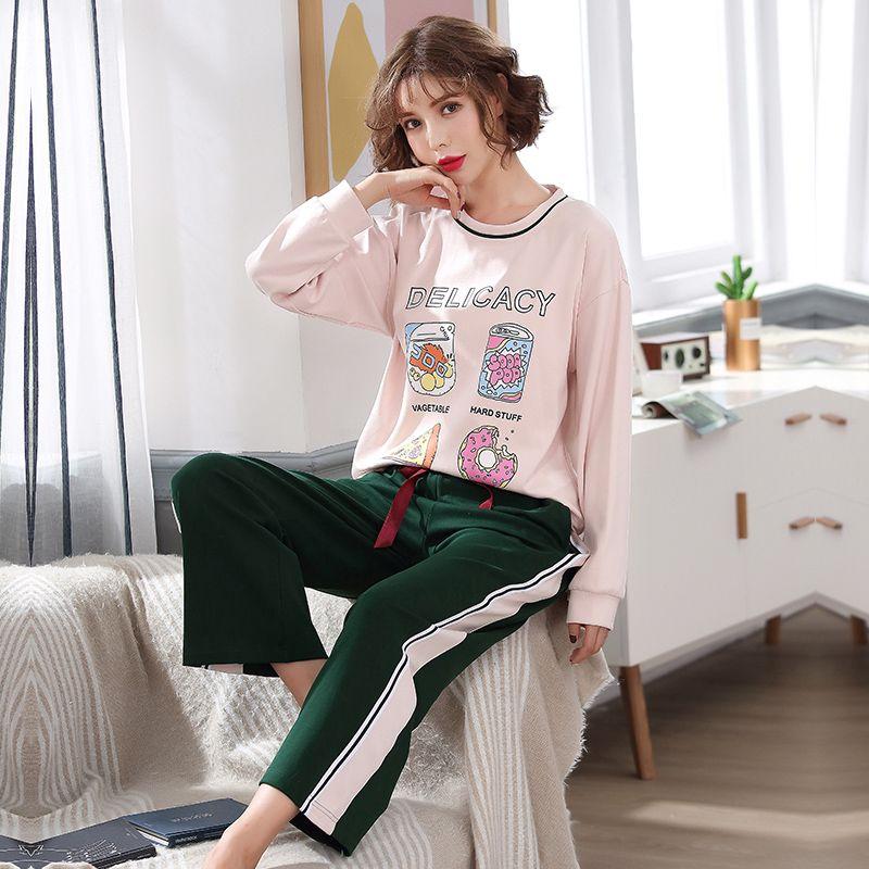 Mulher Pijamas Conjuntos Outono Algodão Manga comprida Pijamas Define Mulheres Striped Sweet Girl Sleepwear dos desenhos animados Loungewear Pajama