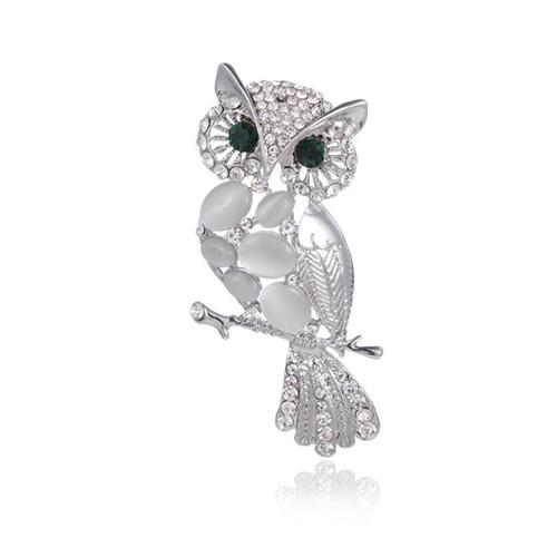 Wholesale 10 pcs Trendy Silver Plated Wisdom Owl with Rhinestone Brooch for Party Gift Charm Jewelry