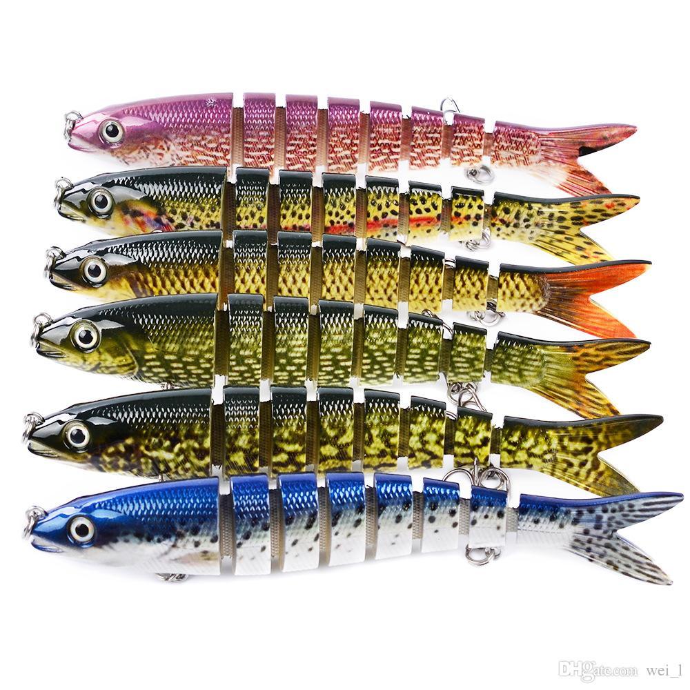 1 pz 6 colori 135mm 19.01g Esche dure per pesci a più sezioni Esche 6 # Amo Ganci da pesca Accessori per esche in plastica artificiale