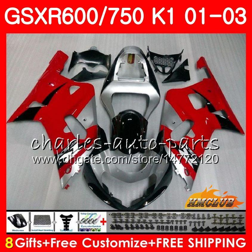 8Gifts Body for Suzuki GSX-R750 GSXR 600 750 GSXR600 Röd Silvery Blk 01 02 03 4HC.12 GSXR-600 K1 GSX R750 GSXR750 2001 2002 2003 Fairing Kit