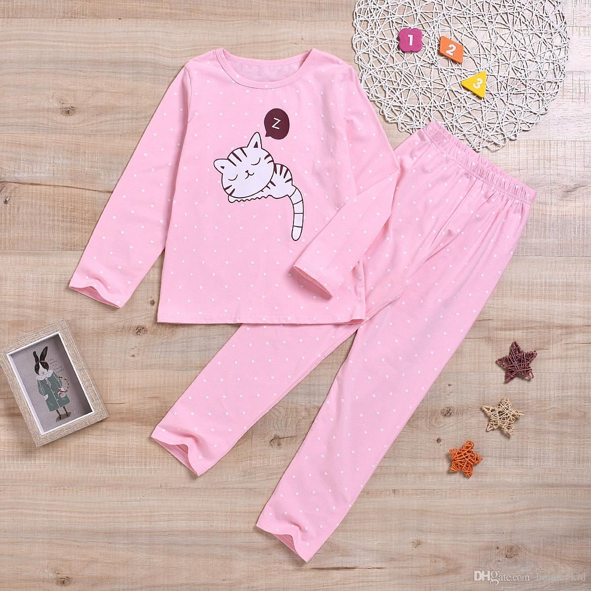 Infant Toddler Baby Girls Cute Cat Print Sweatshirt Tops Pants Outfits Long Sleeve Fall Winter 2pcs Clothes Set