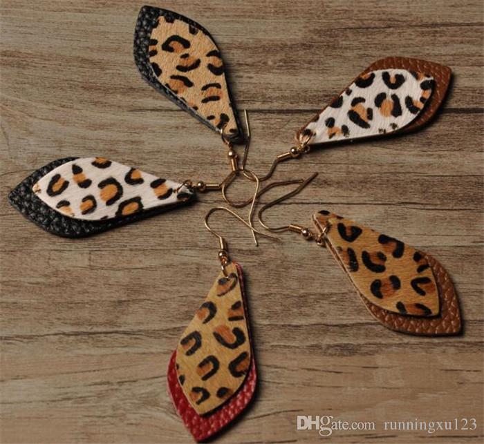 Серьги из кожи леопарда 60 пар Bohemia с двумя слоями листьев леопарда Серьги R370