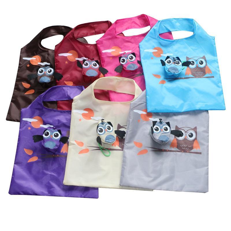 Hot sacos de compras designer de cartoon animal portátil bonito coruja dobrar saco de armazenamento eco amigáveis reutilizáveis sacolas dobráveis 37 57 centímetros *