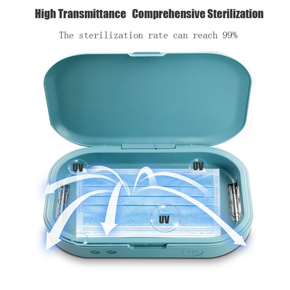 Máscaras del teléfono Caja de almacenamiento verde Desinfección máquina móvil multifuncional esterilizador UV de desinfección de la máquina 40 @
