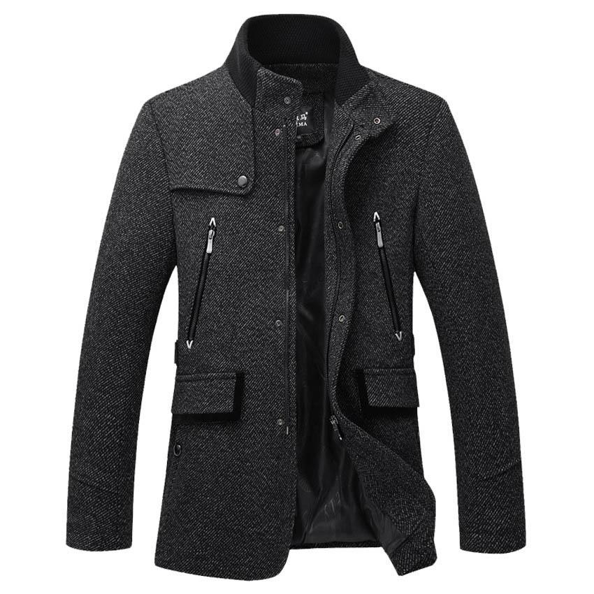 Ücretsiz nakliye İlkbahar ve Sonbahar yeni erkek yünlü ceket Standı yaka yünlü ceket Boş İnce rüzgarlık 98yw