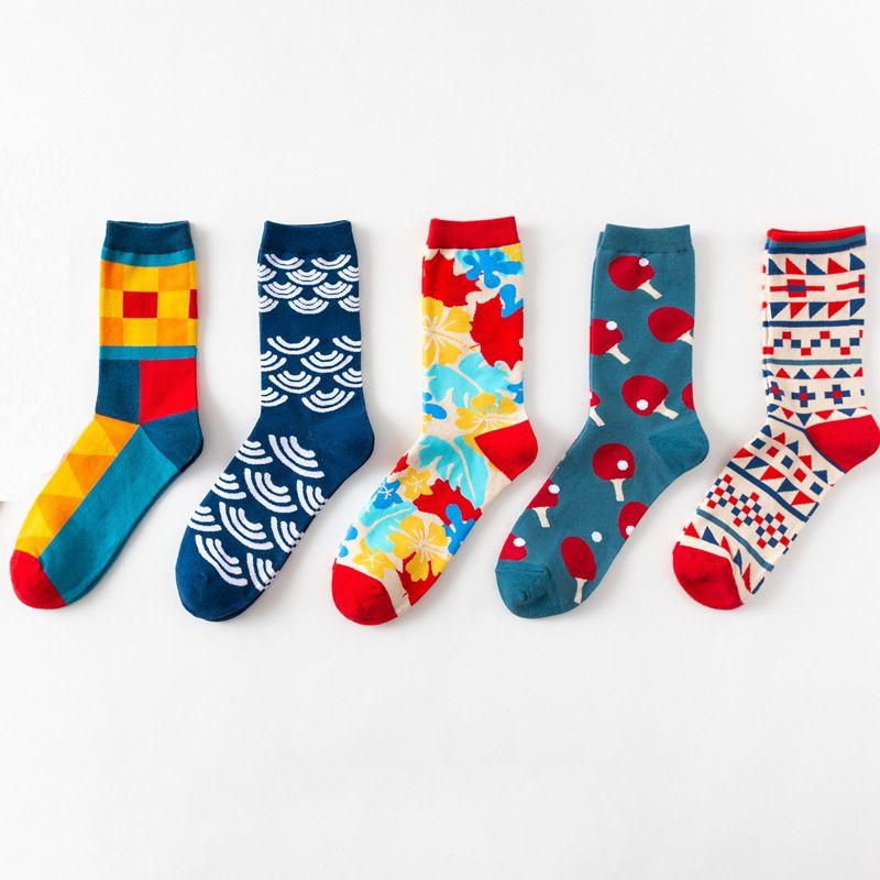 Европа и Америка счастливые носки британский ветер личность пара носки хлопчатобумажные носки с длинными трубками оптом