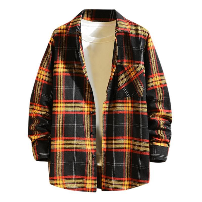 Winter Button Plaid Jacket Turndown Collar Casual Long Sleeve Top Blouse Shirts Plus Size Masculina