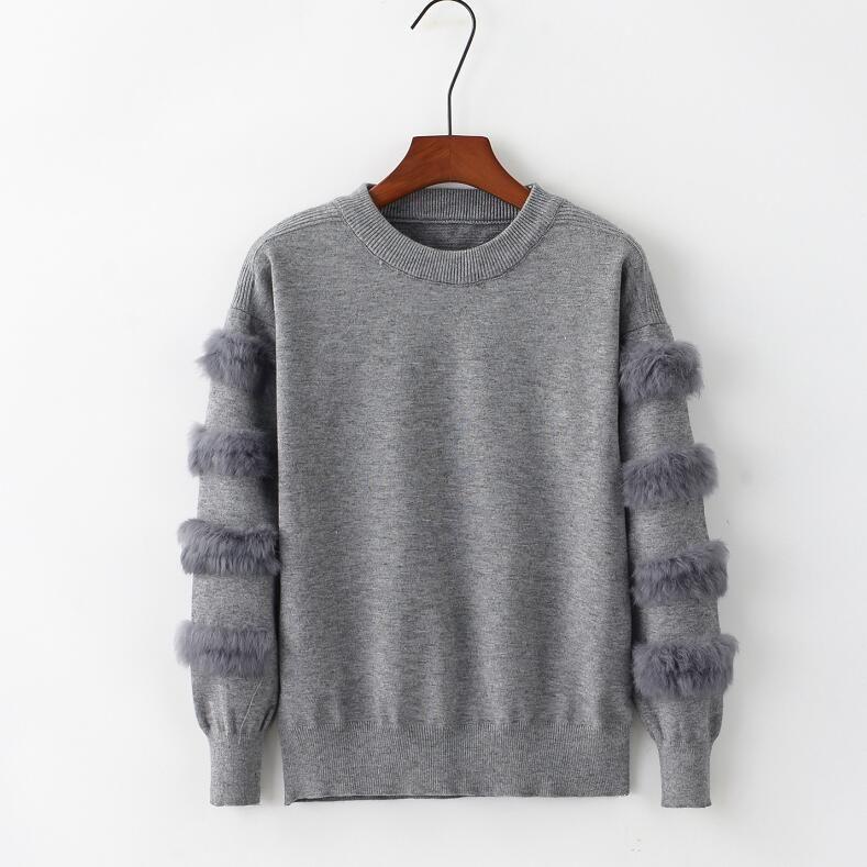 2019 Women Rabbit Fur Sleeves Loose Sweater O-neck Causal Knit Pullovers Women Fur Jumper Y200116