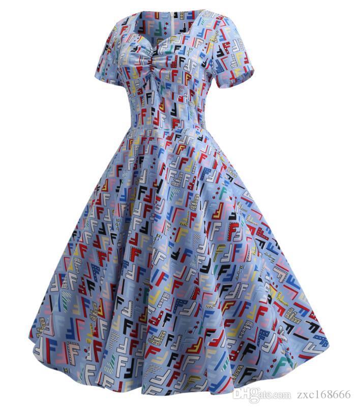 Acheter Robe De Soiree De Mariage Femmes Bleu Lettres Colorees Robe Vintage Soiree Elegante Robes Plissees Formelles De 16 27 Du Zxc168666 Dhgate Com