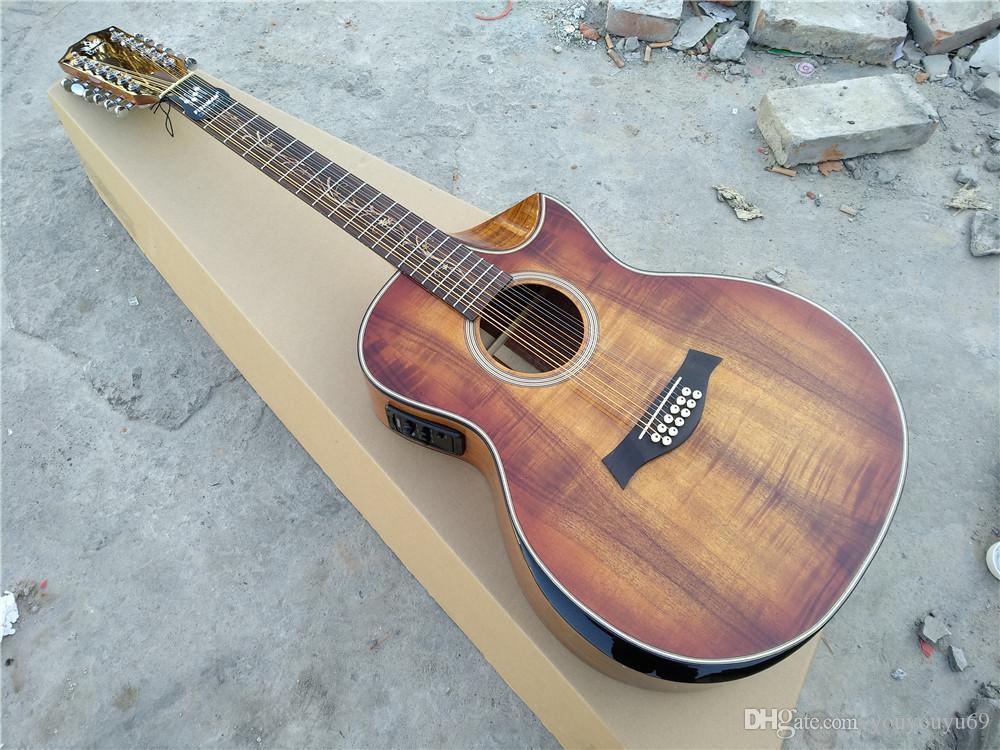 Handgemachte hölzerne Koa Gitarre Jumbo 12 Strang abgeschrägte Schneidarm 12 String E-Gitarre, persönlichen Service